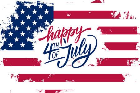 Gelukkige vierde van juli Onafhankelijkheidsdag wenskaart met Amerikaanse vlag penseelstreek achtergrond en hand belettering tekstontwerp; Vector illustratie.