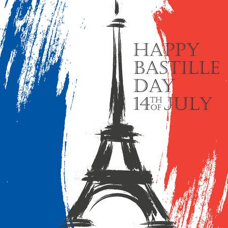 Happy Bastille Day wenskaart. 14 juli borstel vakantie achtergrond in kleuren van de nationale vlag van Frankrijk met de Eiffeltoren. Vector illustratie. Stock Illustratie