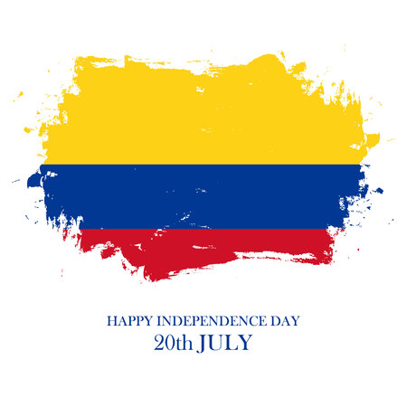 Colombia Happy Independence Day, 20 july greeting card with brush stroke in colombian national flag colors. Vector illustration.
