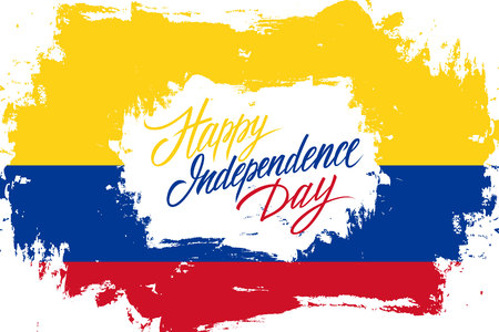 Colombia Happy Independence Day greeting card with colombian flag brush stroke background and hand lettering text design. Vector illustration. Ilustrace