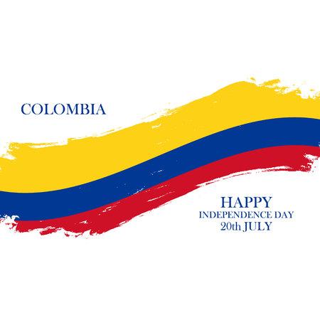 Colombia Gelukkige Onafhankelijkheidsdag, 20 juli groetekaartje met borstelslag in nationale vlagkleuren. Vector illustratie. Stock Illustratie