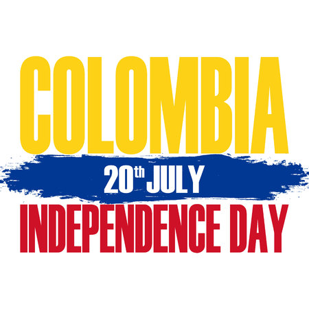 Colombia Independence Day greeting card with brush stroke element Vector illustration.