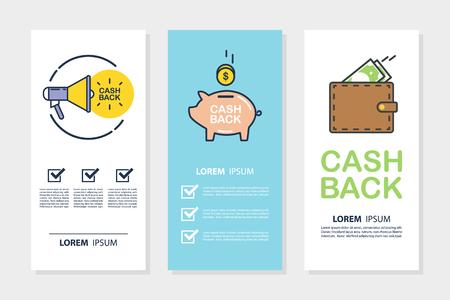 Set geld geld terug folders voor zaken, promotie en reclame. Vlakke ontwerp vectorillustratie.