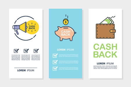 Set of money cash back flyers for business, promotion and advertising. Flat design vector illustration.