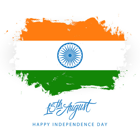 India Happy Independence Day, 15 august greeting card with brush stroke in indian national flag colors vector illustration.