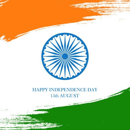 India Happy Independence Day celebration card with brush stroke background. Vector illustration. Illustration