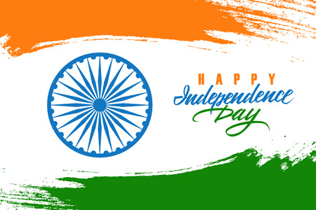 India Happy Independence Day celebration card with indian national flag brush stroke background and hand lettering text design. Vector illustration.