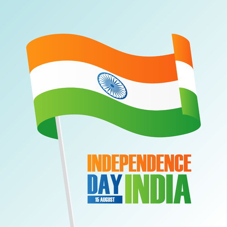 India Happy Independence Day, 15 august greeting card with waving indian national flag. Vector illustration. Illustration