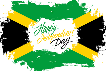 Jamaica Happy Independence Day greeting card with jamaican flag brush stroke background and hand lettering text design. Vector illustration. Banco de Imagens - 83189388