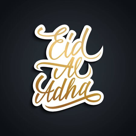 Eid Al Adha greeting card with gold color handwritten text design. Hand drawn lettering. Vector illustration.