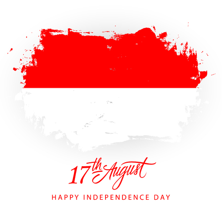 Indonesia Happy Independence Day, 17 august greeting card with Indonesian flag brush stroke background and hand lettering. Vector illustration.