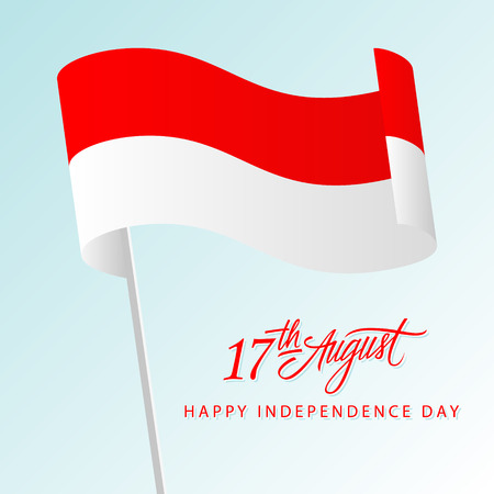 Indonesia Happy Independence Day greeting card with waving indonesian national flag and hand lettering text design. Vector illustration. Illustration