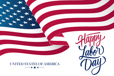 Happy Labor Day celebration card with waving United States national flag and hand lettering text design. Vector illustration. Vetores