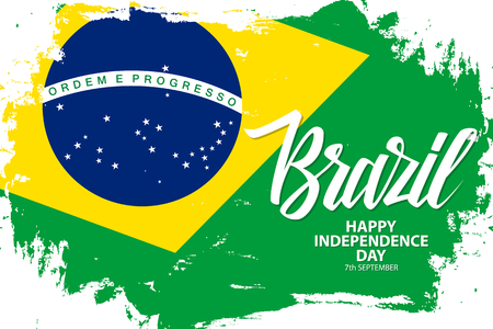 Brazil Happy Independence Day, 7 september greeting banner with brazilian national flag brush stroke background and hand lettering. Vector illustration. Иллюстрация
