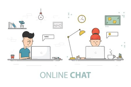 woman laptop: Online chat flat design vector illustration. Young girl and boy with laptop. Social network communication concept.