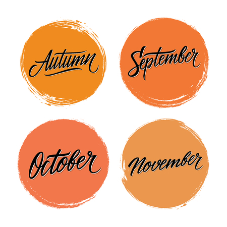 Handwritten words Autumn, September, October, November with color circle brush stroke backgrounds. Vector illustration.