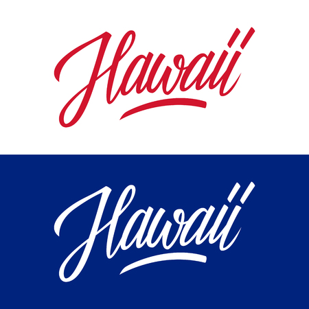 Handwritten U.S. state name Hawaii. Calligraphic element for your design. Vector illustration.
