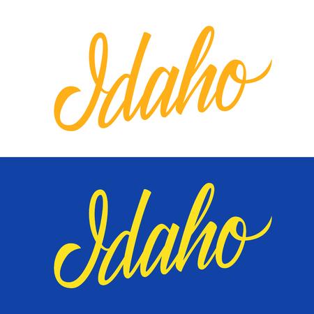 米国州名の手書きアイダホ州。あなたのデザインの書道の要素です。ベクトルの図。  イラスト・ベクター素材