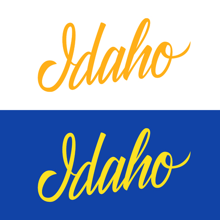 Handwritten U.S. state name Idaho. Calligraphic element for your design. Vector illustration.