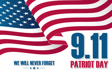 Patriot Day background, September 11, with waving United States national flag. Vector illustration.