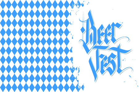 Oktoberfest celebration background with handwritten text Beer Fest and brush stroke. German Beer Festival vector illustration.