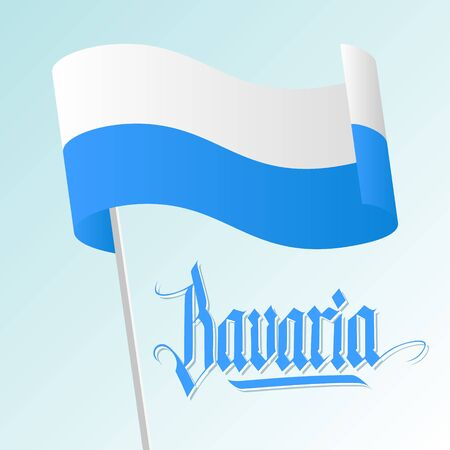 Bavaria card with waving bavarian flag and hand lettering text design. Vector illustration.
