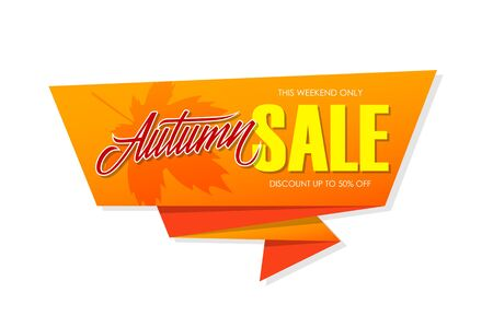Autumn Sale special offer banner with hand lettering for business, promotion and advertising. Vector illustration. Illustration