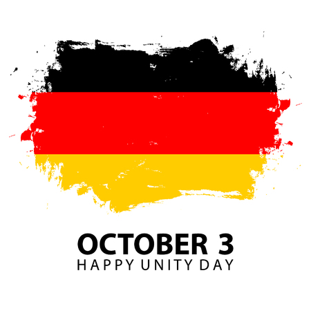 Germany Happy Unity Day, october 3 celebrate card with German national flag brush stroke background. Vector illustration. Иллюстрация