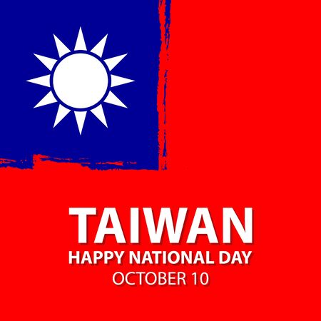 Taiwan Happy National Day celebrate card with national flag brush stroke background. Vector illustration.