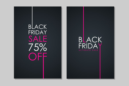 Black Friday Sale flyers. Special offer, discount up to 75% off. Flyers for business, promotion and advertising. Vector illustration.