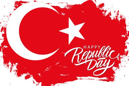 Turkey Happy Republic Day, october 29 greeting banner with turkish national flag brush stroke background and hand lettering. Vector illustration. Illustration