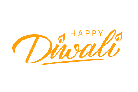 Happy Diwali hand lettering. Greeting template for festival of lights celebration. Vector illustration.
