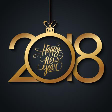 2018 Happy New Year wenskaart met hand getrokken belettering vakantiegroeten en gouden gekleurde kerstbal. Hand getrokken belettering. Vector illustratie