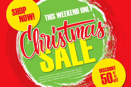 Christmas Sale discount banner with hand lettering text design and brush stroke background. Special offer up to 50% off. This weekend only. Vector illustration.