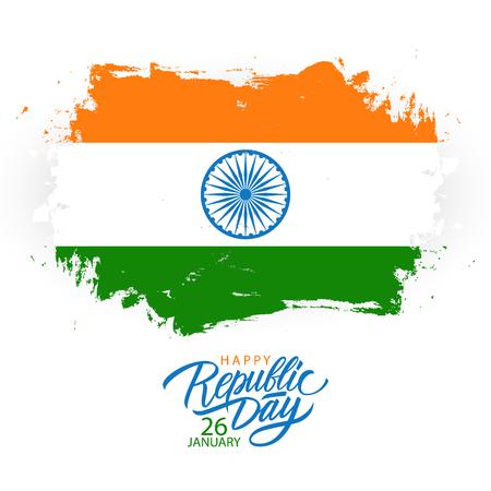 India Happy Republic Day wenskaart met handgeschreven vakantiegroeten en penseelstreek in kleuren van de Indiase nationale vlag. Vector illustratie