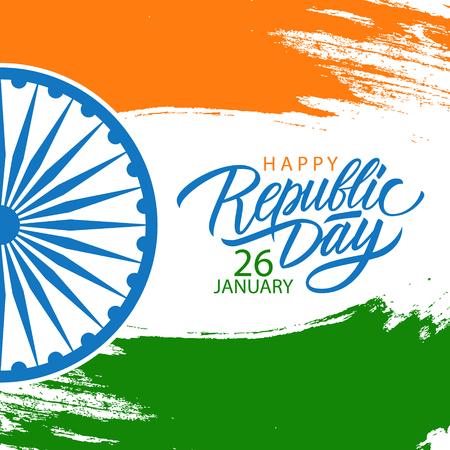 Gelukkige de Republiek de Dag van India viert kaart met van letters voorziende de vakantiegroeten van de hand en borstelslag in kleuren van de Indische nationale vlag. Vector illustratie.