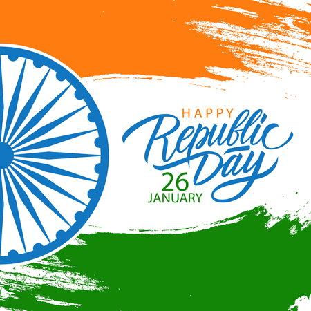 India Happy Republic Day celebrate card with hand lettering holiday greetings and brush stroke in colors of the Indian national flag. Vector Illustration.