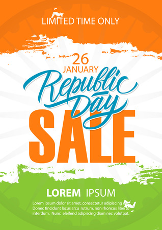 India Republic Day Sale poster. Special offer background with brush strokes in Indian national flag colors.