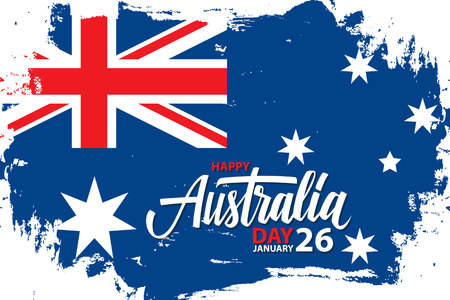 Happy australia national day january 26 greeting card with hand 92927217 happy australia day january 26 celebrate banner with hand lettering holiday greetings and brush stroke in colors of the australian national m4hsunfo