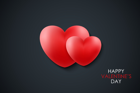 Happy Valentines Day celebrate banner with red realistic hearts on black background. 14 february holiday greetings. Vector Illustration.