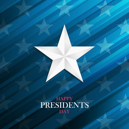 USA Happy Presidents Day greeting card with silver star on blue background. Vector illustration. Vettoriali