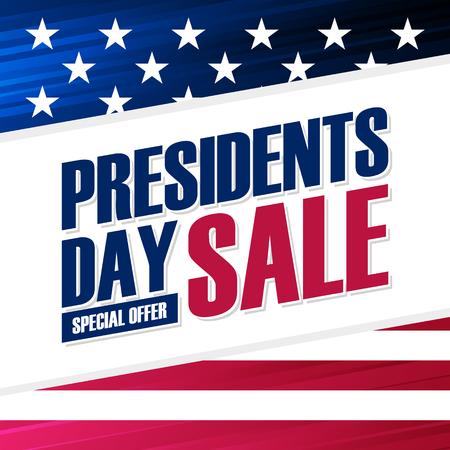 Fondo de oferta especial de venta de día de presidentes de Estados Unidos con bandera nacional estadounidense para negocios, promoción y compras navideñas. Ilustración vectorial