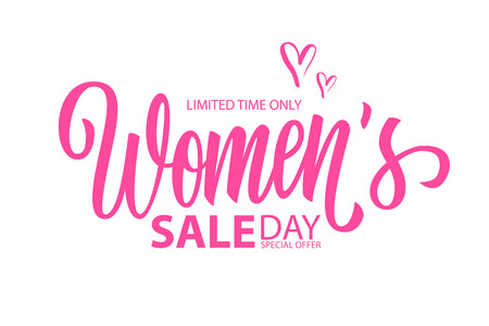 Womens Day Sale special offer banner with hand drawn lettering for holiday shopping. Limited time only. Vector illustration.