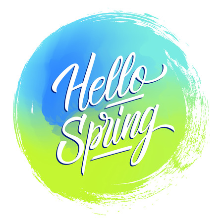 Handwritten phrase Hello Spring on blue and green circle brush stroke background. Creative typography for your design. Vector illustration.