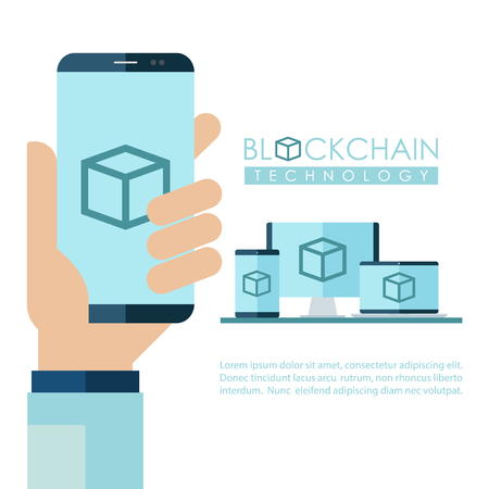 Desktop computer, laptop, tablet pc and hand holding mobile phone with Blockchain Technology sign on screen. Cryptocurrency data protection technology. Flat design vector illustration.