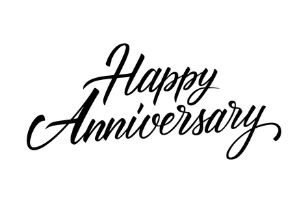 Happy Anniversary calligraphic lettering design celebrate card template. Creative typography for holiday greetings and anniversary invitations. Vector illustration. Illustration