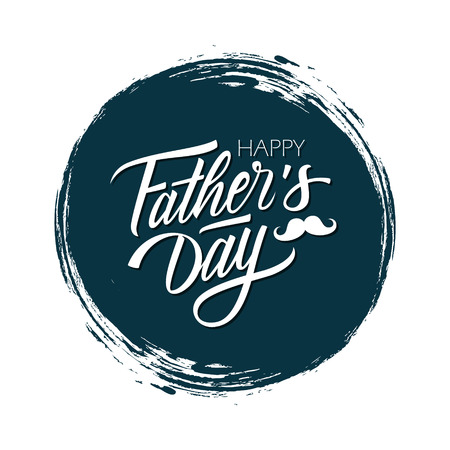 Happy Father's Day celebrate card with handwritten lettering text design on dark circle brush stroke background. Vector illustration. Vettoriali