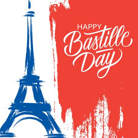 Feliz día de la Bastilla, 14 de julio tarjeta de felicitación de vacaciones de trazo de pincel en los colores de la bandera nacional de Francia con la Torre Eiffel y letras de la mano. Ilustración de vector.