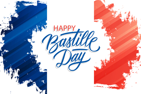 French National Day celebrate brush stroke banner with France national flag colors and hand lettering greetings Happy Bastille Day. Vector illustration. Vector Illustration