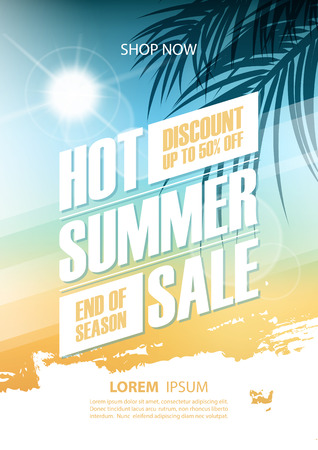 Hot Summer Sale poster. Summertime special offer banner with brush stroke, sun and palm leaves for business, commerce and advertising. Vector illustration.